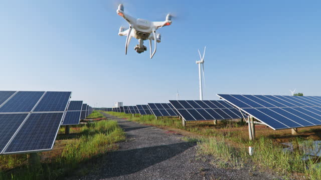 drone working at solar power station - generator stock videos & royalty-free footage
