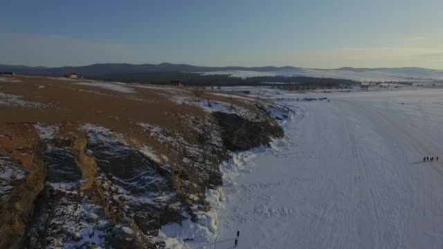 drone/aerial view footage at frozen lake baikal - 30 seconds or greater stock videos & royalty-free footage