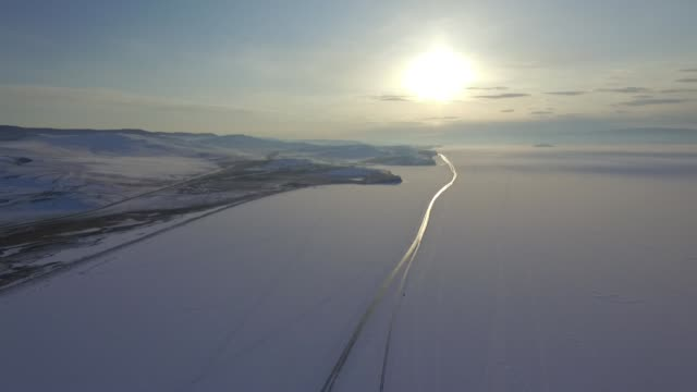 Drone/aerial view footage at Frozen Lake Baikal