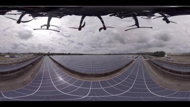 Droneflight over solar park