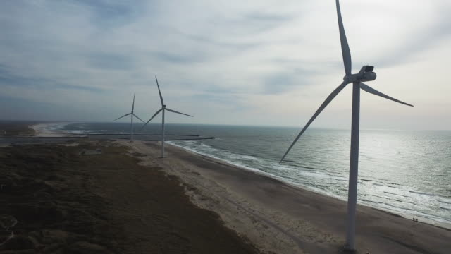 Dronefootage of ascent along a Danish Wind turbine at the coast line