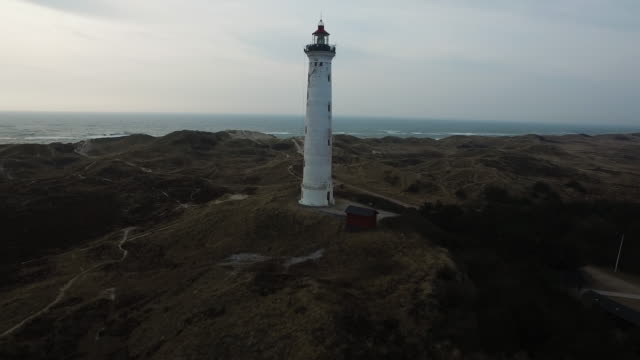 Dronefootage of old light house in Denmark