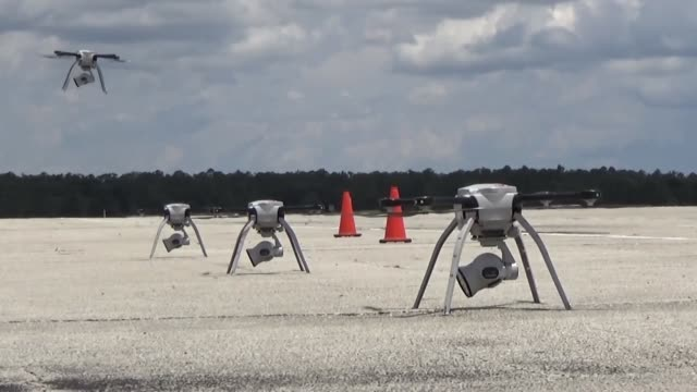 drones belonging to tyndall air force base remain undamaged after hurricane michael - 無人航空機点の映像素材/bロール