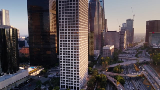 Drone's Eye View of LA Freeways and Skyscrapers