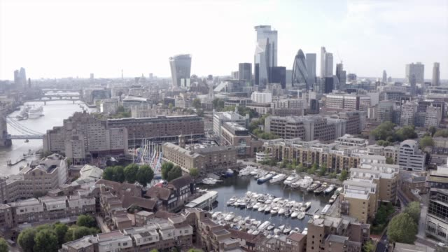 a drones eye view of st katharine docks in central london - capital cities stock videos & royalty-free footage