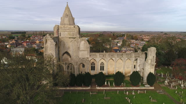Drones eye view over Crowland Abbey