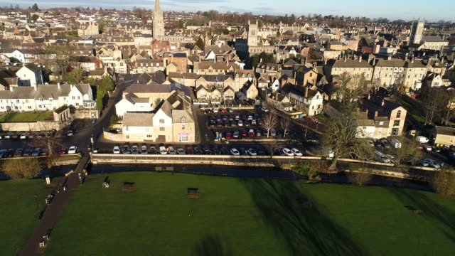 Drones eye view over Stamford Town.