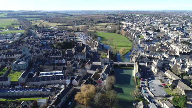 drones eye view over, stamford town, - lincolnshire stock videos & royalty-free footage