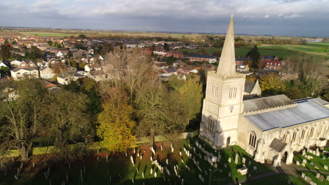 Drones eye view over the Priory church, Deeping St James.