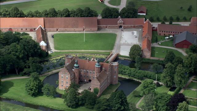 dronninglund slot  - aerial view - north denmark,  brønderslev kommune,  denmark - musical instrument bridge stock videos & royalty-free footage