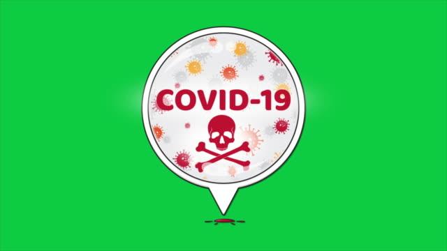 tropfen des blutes infiziert mit covid-19 virus grünen hintergrund - biomedical illustration stock-videos und b-roll-filmmaterial