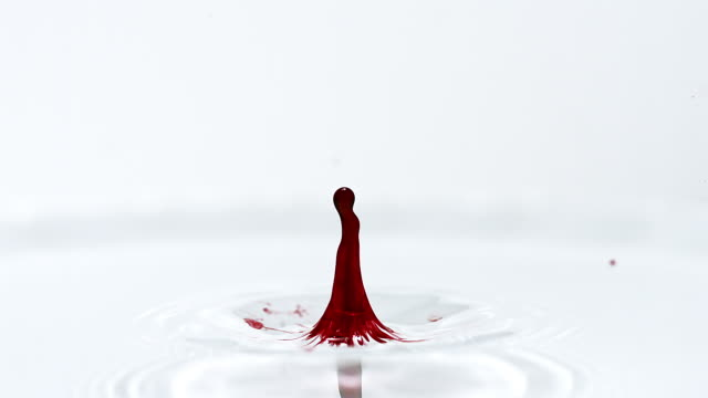 Drop of Red Ink falling into Water against White background, Slow motion