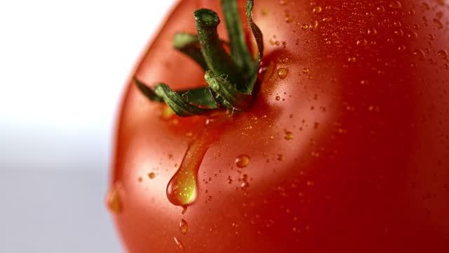 stockvideo's en b-roll-footage met slo mo ld een druppel water die onderaan een tomaat glijdt - tomato
