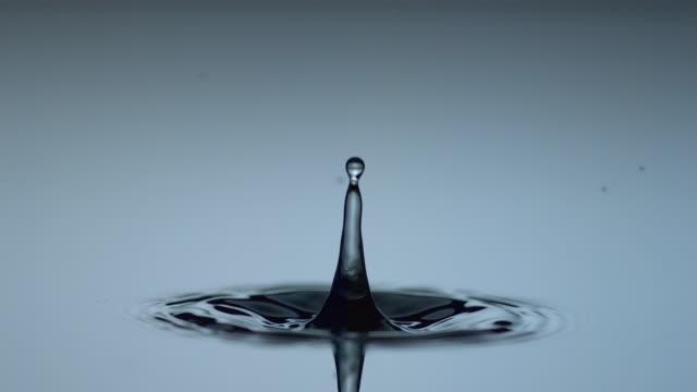 drop of water hits still water surface. - splash crown stock videos & royalty-free footage