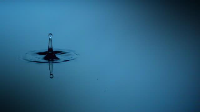 vídeos de stock, filmes e b-roll de drop of water on water surface close-up. - fotografia de alta velocidade