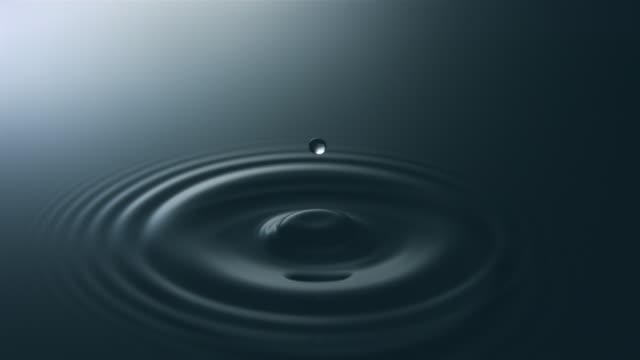 slo mo cu droplet falling onto water - rippled点の映像素材/bロール