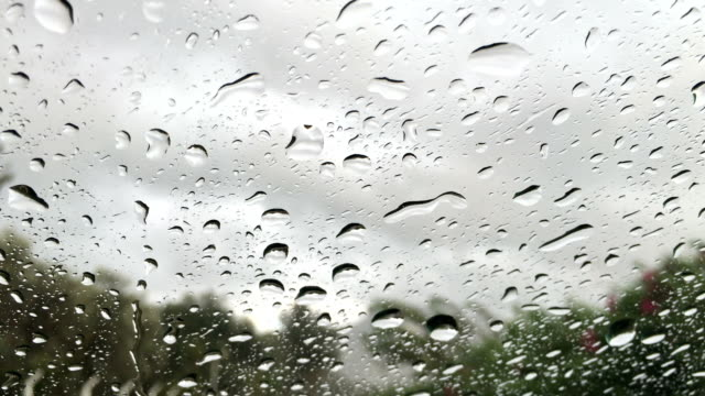 Drops dripping down the glass