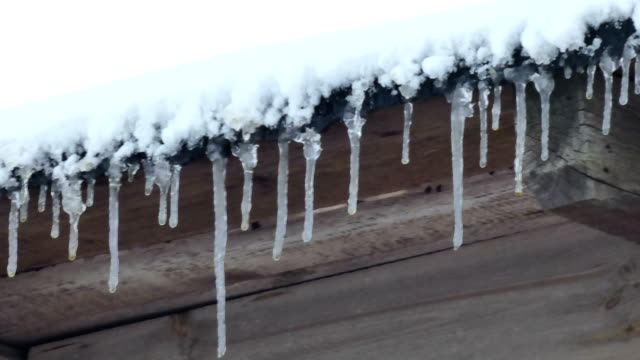 drops falling from the roof in winter - icicle stock videos and b-roll footage