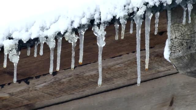 Tropfen fallen vom Dach im winter