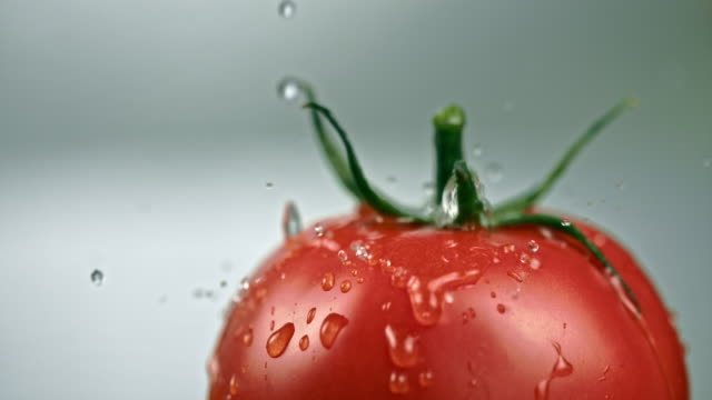 slo mo drops falling on a rotating fresh tomato - salad stock videos & royalty-free footage