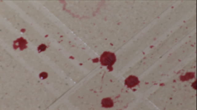 drops of blood leave a trail across a tiled  floor. - blood stock videos & royalty-free footage