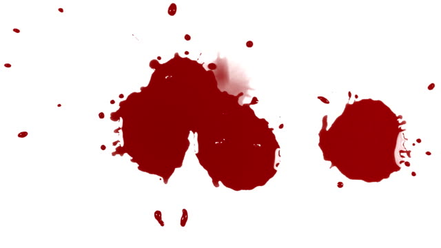 Drops of blood splatter on a white background.