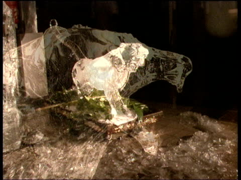 Drops of melting ice fall from sculpture of lion