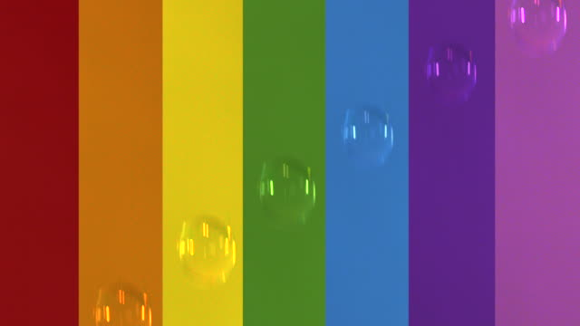 drops of water fall in front of rainbow coloured background. - spectrum stock videos & royalty-free footage