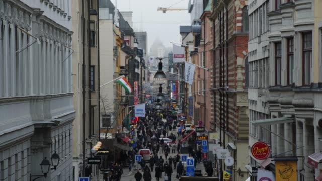 drottninggatan, central stockholm - sweden stock videos & royalty-free footage