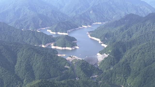 aerial, drought yagisawa dam, gunma, japan - depth marker stock videos & royalty-free footage