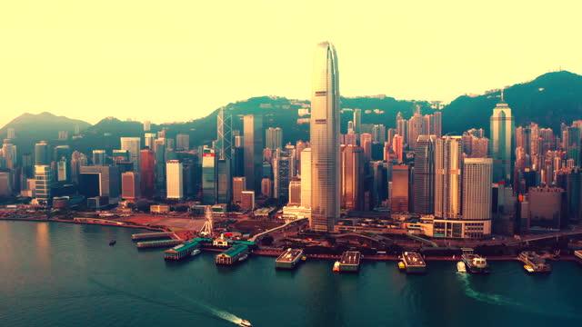 drove view of victoria harbour, hong kong - victoria hong kong stock videos & royalty-free footage