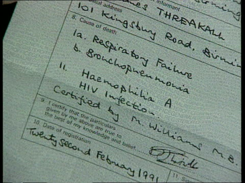 england liverpool tcs bob threakell's death certificate tcs detail on certificate sue threakell reading diary outlining diary of husband's illness... - diary stock videos & royalty-free footage