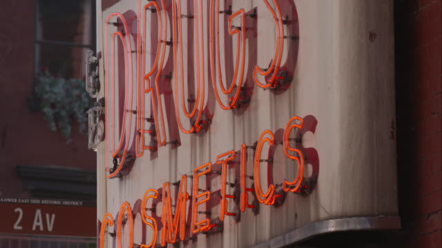 drugs cosmetics neon sign - pharmacy stock videos and b-roll footage