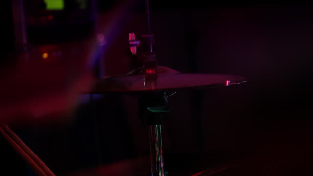 cu drum sticks on cymbal in drum kit/norwich/norfolk/uk - rock group stock videos & royalty-free footage