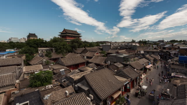 t/l drum tower and hutong in beijing - pechino video stock e b–roll