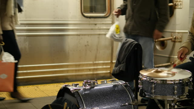 drummer and people at ny subway station - performer stock videos and b-roll footage