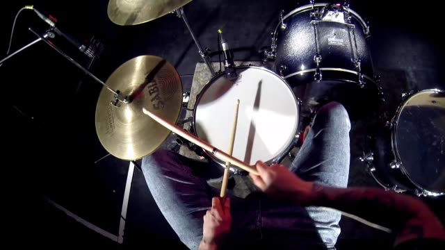 drummer drumming on stage - pov (gopro mounted) point of view - wearable camera stock videos & royalty-free footage