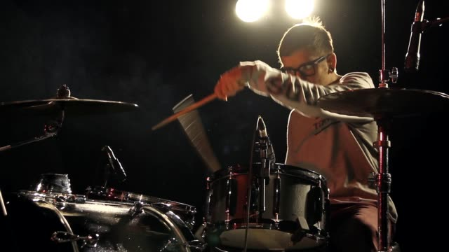Drummer Drumming on Stage - Live Rock Musician - With Audio, Mid Shot
