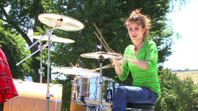 drummer girl - drum percussion instrument stock videos & royalty-free footage