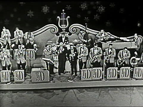 """drummer louis bellson begins """"alexander's ragtime band"""" song with drum solo. the dorsey brothers performing on sound stage, accompanied by adult... - man made object stock videos & royalty-free footage"""