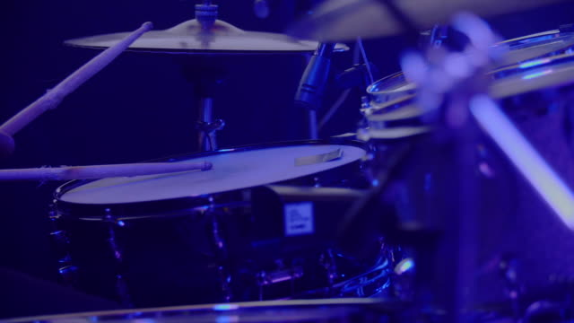 drummer performing on stage - drum kit stock videos & royalty-free footage