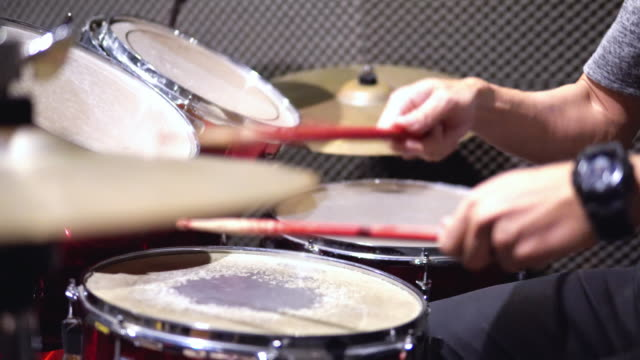 drummer playing drums at recording studio. - drummer stock videos & royalty-free footage