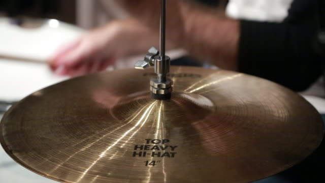 drummer plays his drums, high hat cymbal cu - drum kit stock videos & royalty-free footage