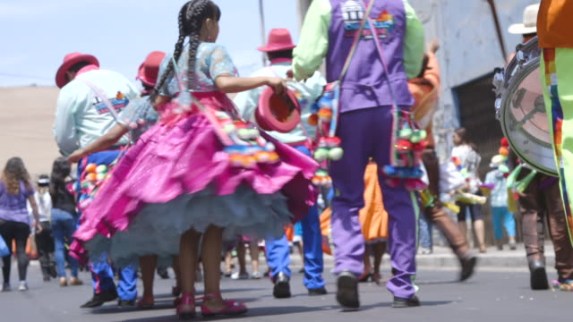 drummers and dancers on street during carnival parade in chile - parade stock videos & royalty-free footage