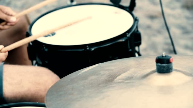 drums hitted by a musician. jam session - drum kit stock videos & royalty-free footage
