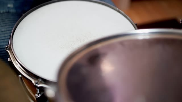 drumstick hitting drum - stock video - drum kit stock videos & royalty-free footage