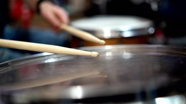 drumstick hitting drum - stock video - pedal stock videos & royalty-free footage