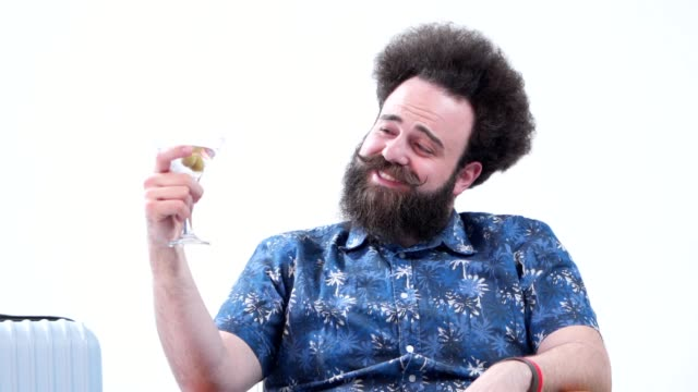 drunk bearded tourist drinking martini - satisfaction stock videos & royalty-free footage