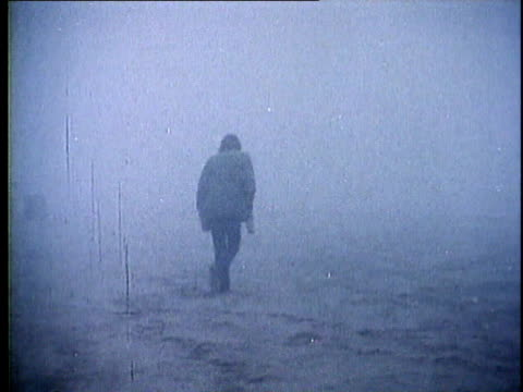 1973 ws drunk person stumbling through foggy landscape, usa, audio - 1973 stock videos and b-roll footage