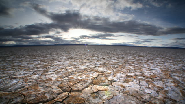 Dry, cracked earth and clouds